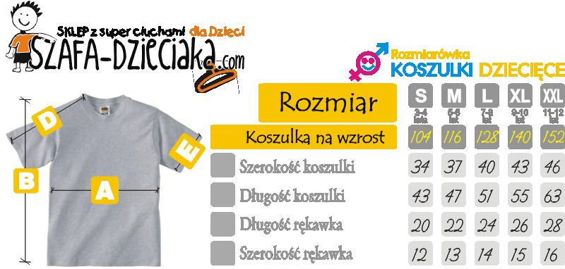 Rozmiarowka dziecieca - koszulki dla dzieci - koszulka dla dziecka - dziecieca koszulka